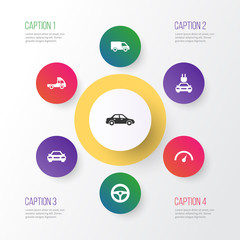 Car Icons Set. Collection Of Drive Control, Plug, Automobile And Other Elements. Also Includes Symbols Such As Wheel, Sedan, Automobile.