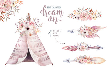 Watercolor colorful ethnic set of arrows, teepee and flowers in native American style.Tribal Navajo isolated illustration ornament on white background.