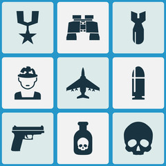 Warfare Icons Set. Collection Of Aircraft, Cranium, Slug And Other Elements. Also Includes Symbols Such As Dynamite, Gun, Gong.