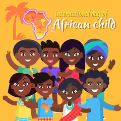 International African Child Day Postcard with Kids