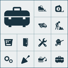 Industry Icons Set. Collection Of Digger, Truck, Measure Tool And Other Elements. Also Includes Symbols Such As Tools, Measure, Can.