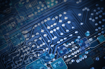Technology blue circuit board background