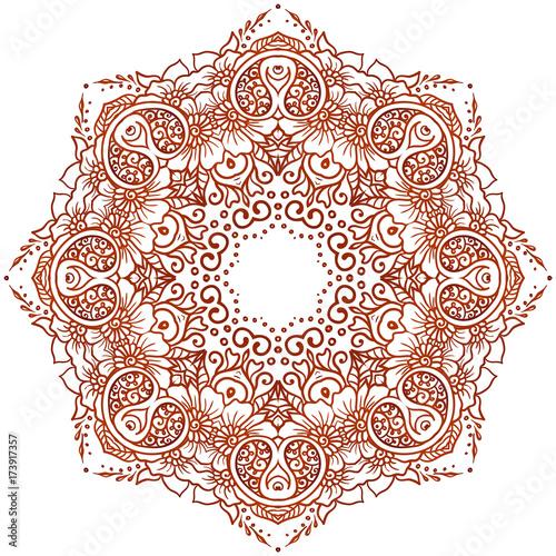 vector ethnic mehndi circular pattern template for mehndi ornament