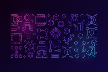 Blockchain colorful line banner. Vector minimal block-chain tech