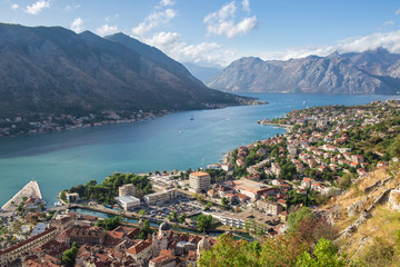 Scenic View To Bay Of Kotor A Medieval Town In Montenegro By the Coast Of Adriatic Sea And The Limestone Cliffs Of Mountain Lovcen, With Venetian Fortress