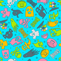 Halloween background. Seamless pattern design. Vector illustration.