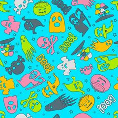 Halloween background. Seamless pattern design. Vector illustration.