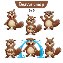 Vector set of cute beaver characters. Set 3
