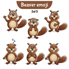 Vector set of cute beaver characters. Set 5