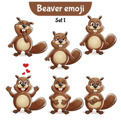 Vector set of cute beaver characters. Set 1