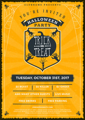 Halloween celebrations. Vintage label on the textured background. Typography poster or flyer template for Halloween party
