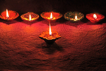 decorative oil clay lamps diya for Indian festival diwali celebration