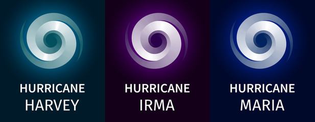 Graphic banner of hurricanes Harvey, Irma, Maria