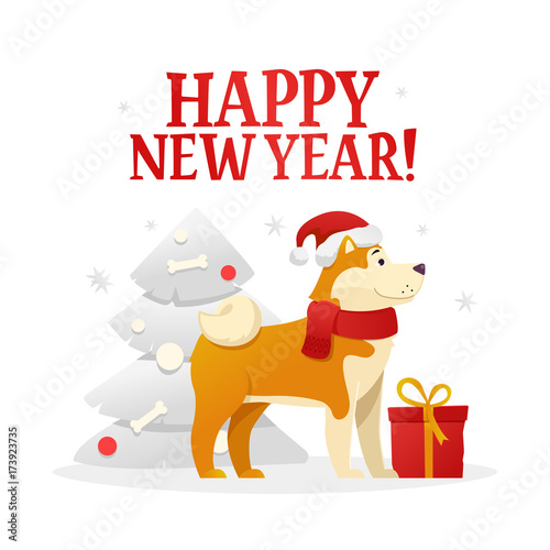 happy new year postcard template with the cute yellow dog with the