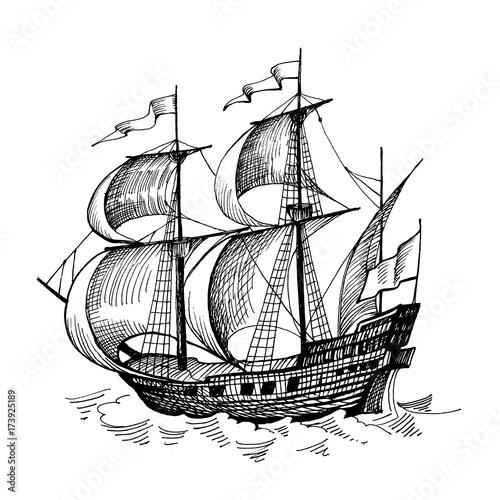 U0026quot Old Caravel  Vintage Sailboat  Hand Drawn Sketch  U0026quot  Stock