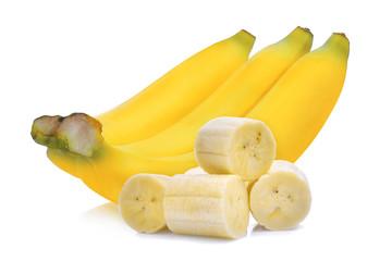 ripe banana with slice isolated on white background