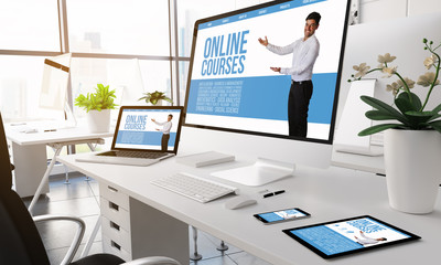 Modern office online courses screen devices.