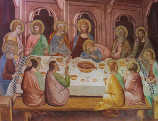 Fresco in San Gimignano - Last Supper