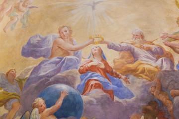 Fresco in San Gimignano - Holy Trinity and Mary