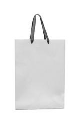 Big white paper bag with satin ribbon handles