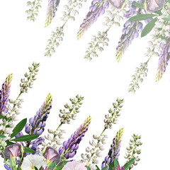 Beautiful floral background of lupine, clover and creepers