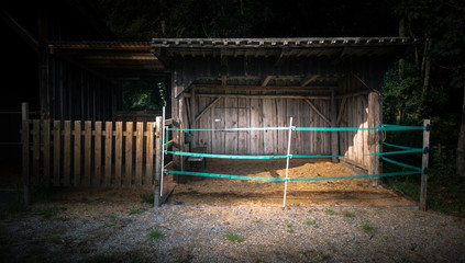 Horse shed with straw and fence