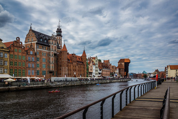 Old town and Motlawa river in Gdansk, Pomorze, Poland