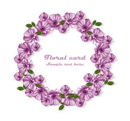 Purple flowers wreath Vector card frame illustration