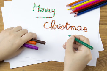 handwriting colorful pencil merry christmas and colorful pencil