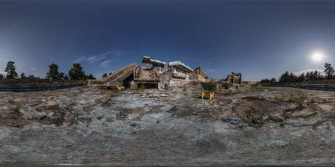 360 panoramic view of swimming  complex ruins
