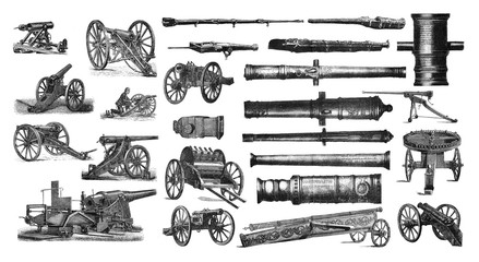 Illustration of a cannon on a white background.