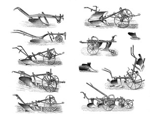 Illustrations of agricultural machinery on a white background.
