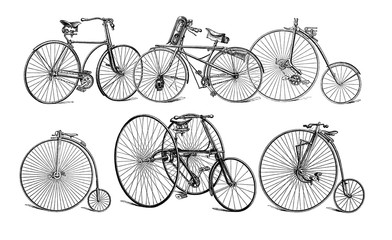Illustration of old bikes.