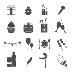 party celebrate icons set vector