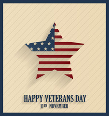 Veterans Day retro poster with star. Vector illustration.