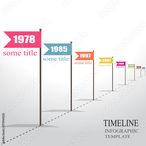 Retro Infographic Timeline Template With Pointers Stock Image And