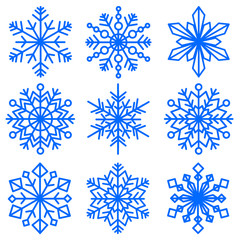set of snowflakes of different shapes. Collection of decorative snowflakes images. Vector illustration.