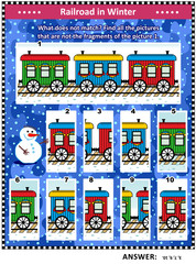 IQ training visual puzzle (suitable both for kids and adults) or picture riddle with retro train cars in snowfall: Find all the pictures that are not the fragments of the picture 1. Answer included.