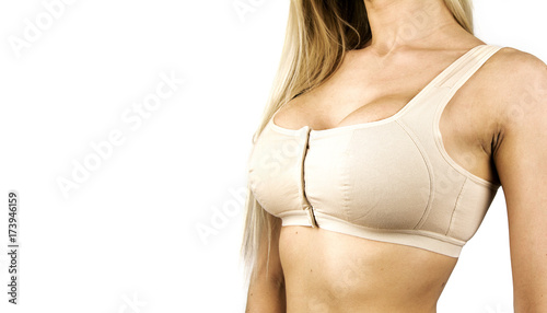 aa856d282 Wearing bra. Close-up of women wearing bra beautiful part of female body.