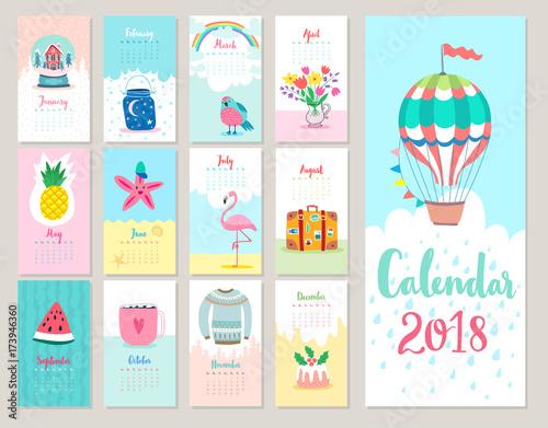 Wall mural Calendar 2018.