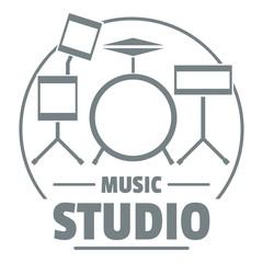Drum kit logo, simple gray style