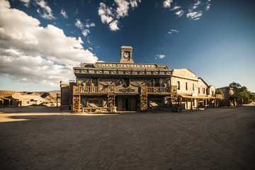 Vintage Old Wild West desert cowboy town with saloon