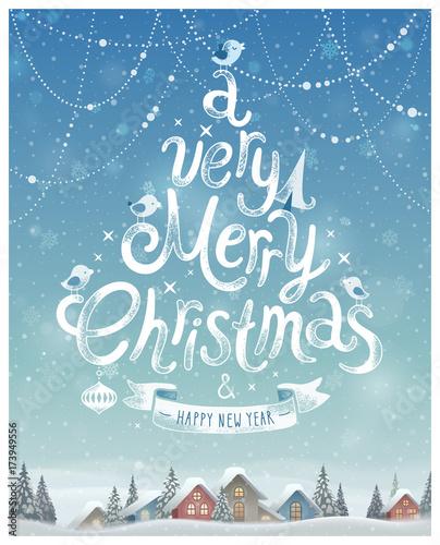 Wall mural Christmas Poster. Vector illustration.