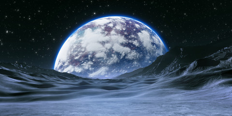 New Exoplanet or Extrasolar planet with atmosphere and moon Wall mural