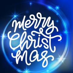 Merry Christmas lettering. Hand written Merry Christmas poster. Modern hand lettering on a blue sparkling background with stars