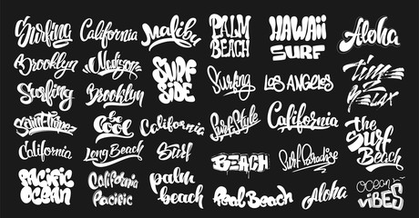Set of handwritten city names and surf lettering. emblem and badges vector