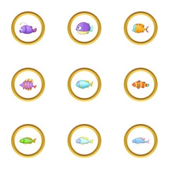 Sea fish icons set, cartoon style