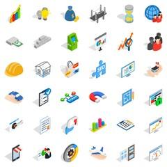 Capital icons set, isometric style