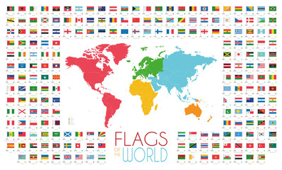 204 world flags with world map by continents vector illustration