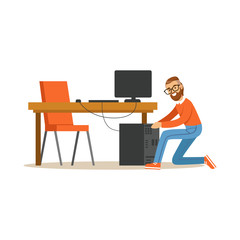 Engineer system IT administrator at work, networking service vector illustration